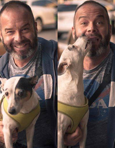 Photo of Chris and his dog, Desi.